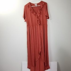 NWT Liz Lange Maternity Terracotta V-Neck Dress L
